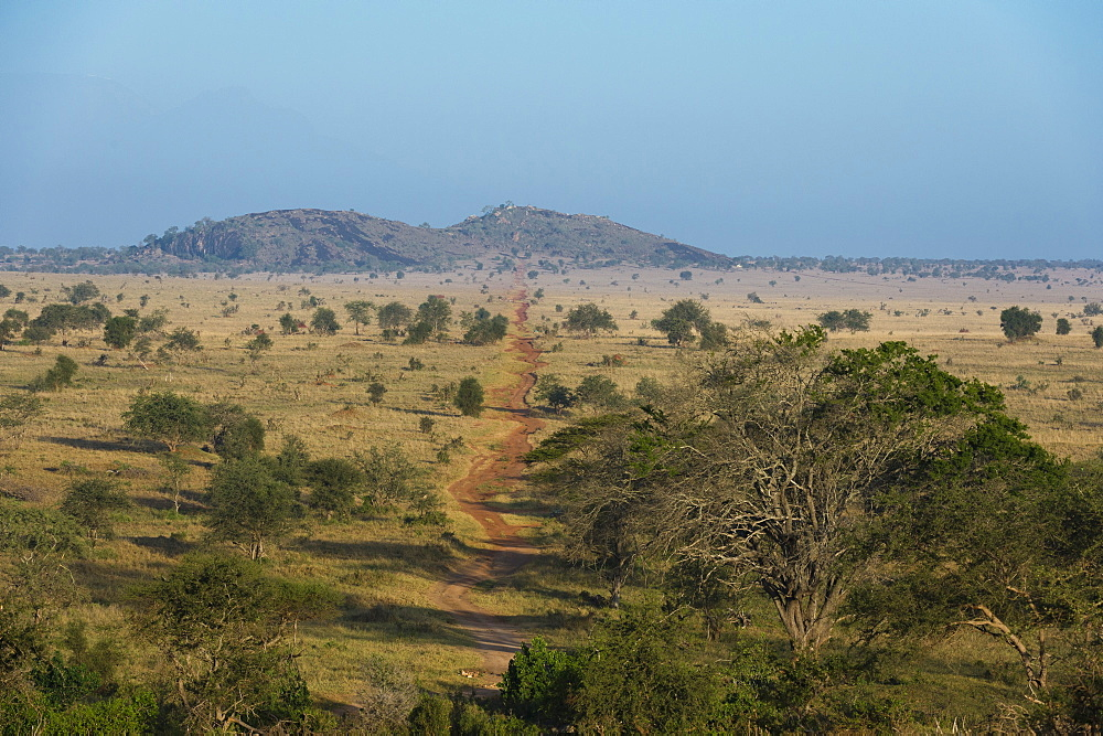 A view of the 'Lion Rock' in Lualenyi game reserve, Tsavo, Kenya.