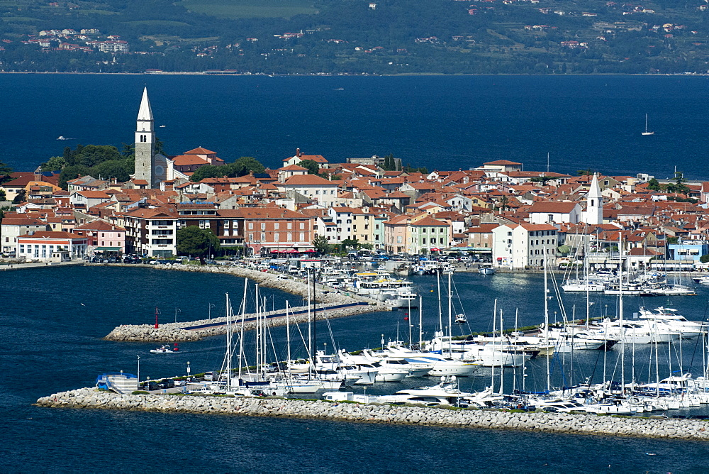An elevated view of the town of Isola overlooking Adriatic Sea, Slovenia. - 741-5435