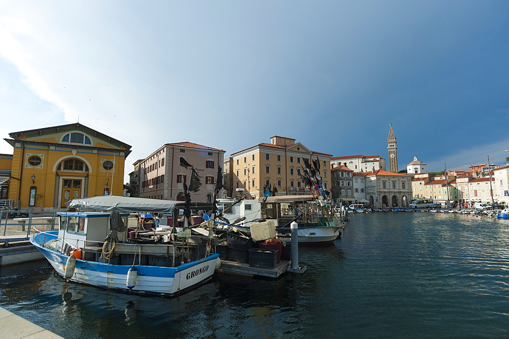 Buildings on the harbour of Piran, Slovenia.