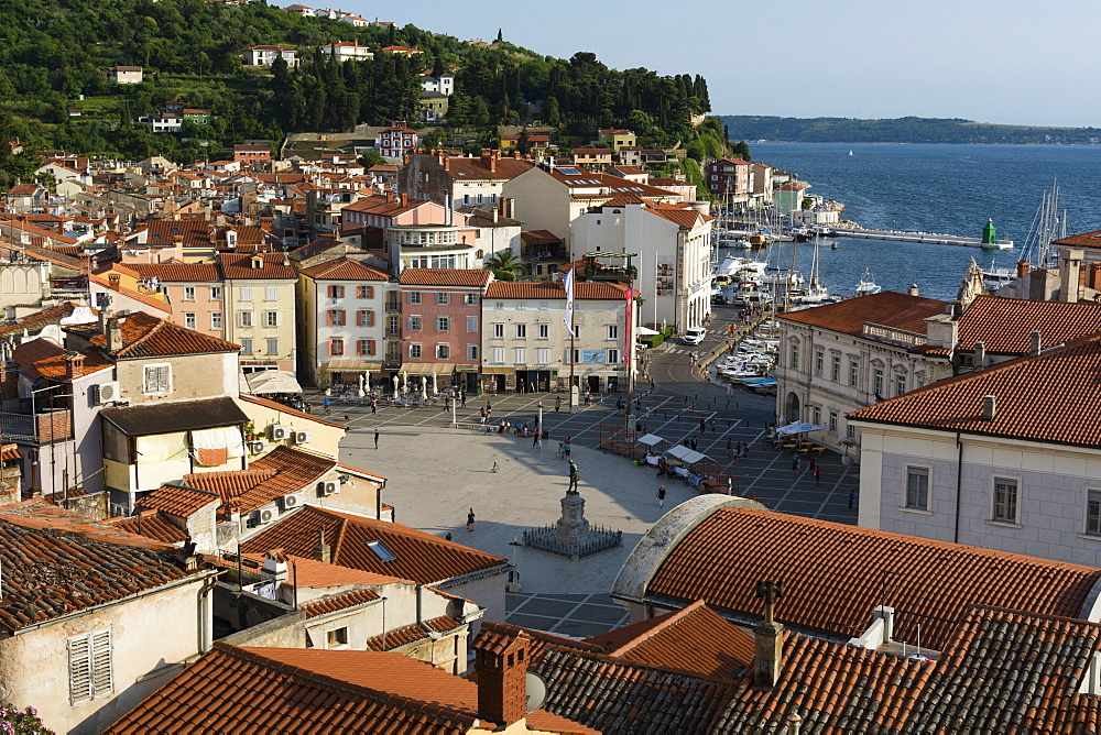 View from above of the Tartini Square, Piran, Slovenia, Europe - 741-5443