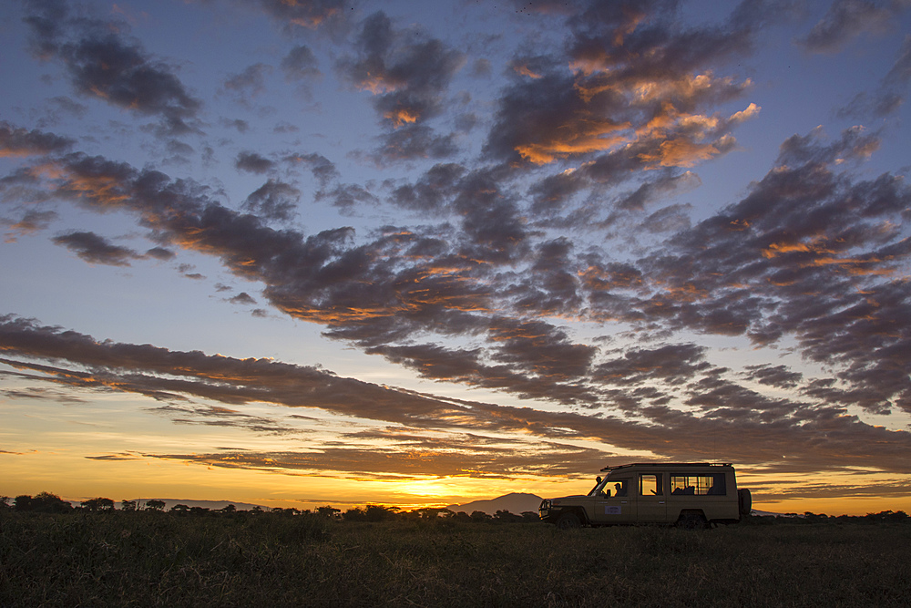 A safari vehicle at sunrise in Ndutu, Serengeti, UNESCO World Heritage Site, Tanzania, East Africa, Africa