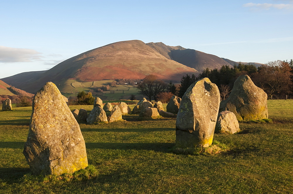 Saddlebac (Blencathra), from Castlerigg Stone Circle, Lake District National Park, Cumbria, England, United Kingdom, Europe - 747-1854