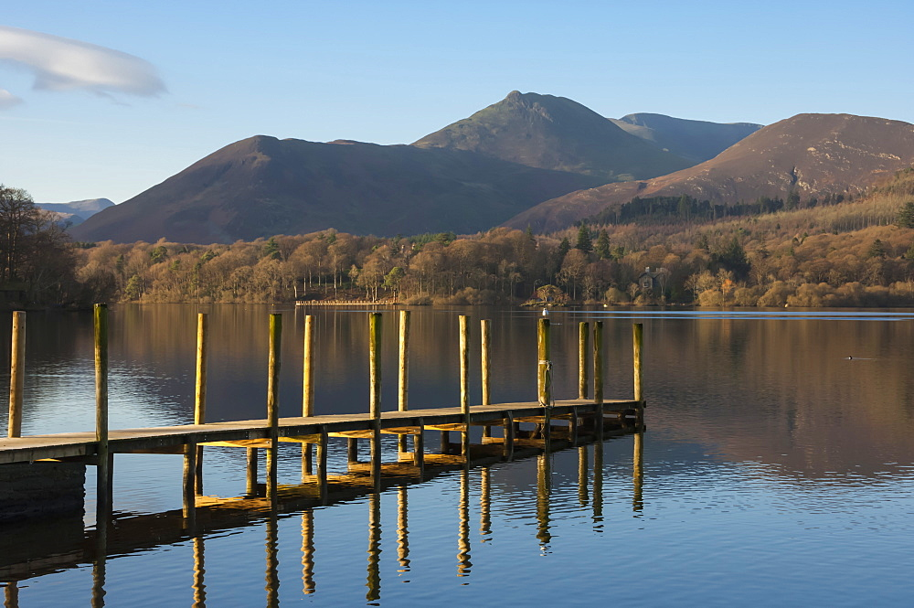Causey Pike from the boat landing, Derwentwater, Keswick, Lake District National Park, Cumbria, England, United Kingdom, Europe - 747-1856