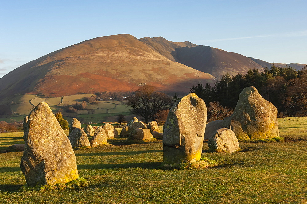 Castlerigg Stone Circle, Saddleback (Blencathra) behind, Keswick, Lake District National Park, UNESCO World Heritage Site, Cumbria, England, United Kingdom, Europe - 747-1978