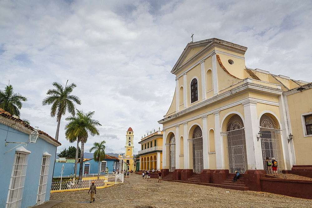 Plaza Mayor with the Iglesia Parroquial de la Santisima Trinidad and the Museo Nacional de la Lucha, formerly Iglesia y Convento, Trinidad, UNESCO World Heritage Site, Cuba, West Indies, Caribbean, Central America