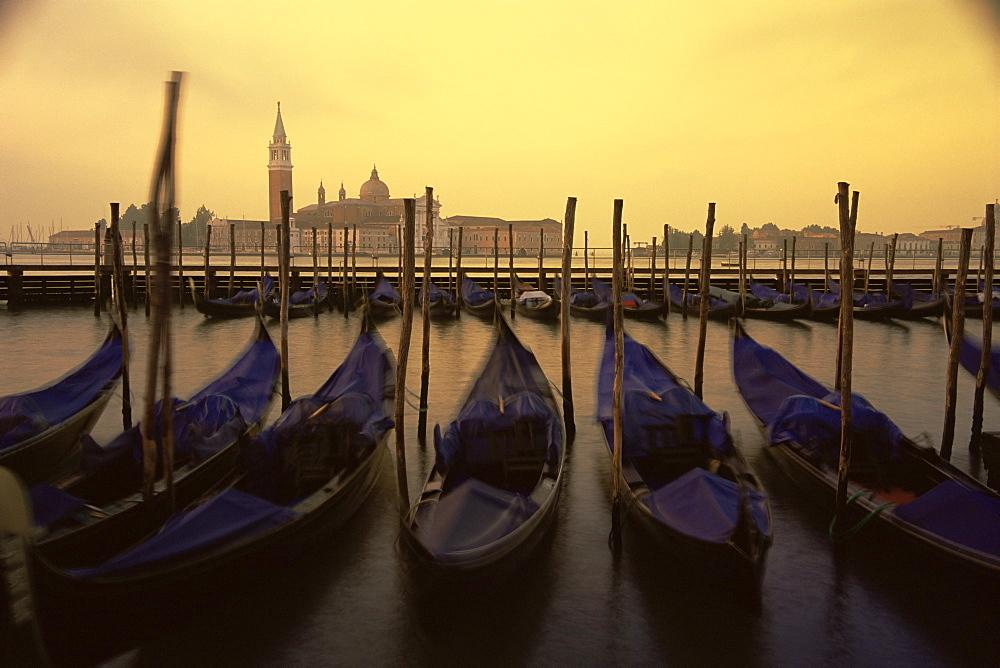 Row of gondolas at dawn, San Giorgio Maggiore, Venice, Veneto, Italy, Europe - 756-139