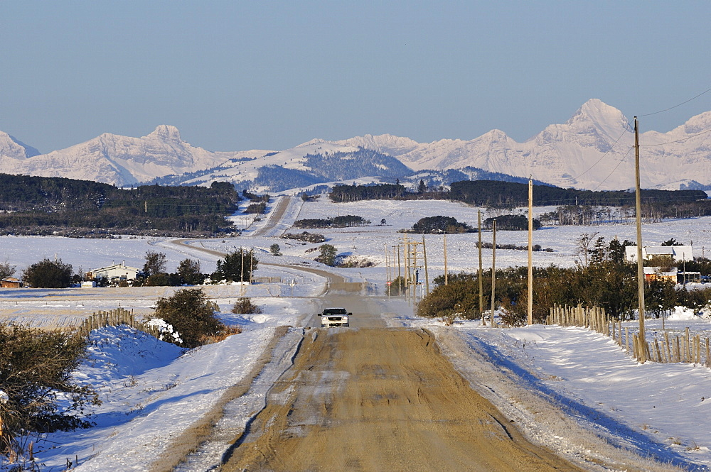 Road near Pincher Creek, Alberta, Canada, North America