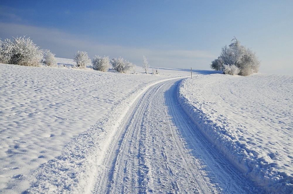 Winter landscape, near Villingen-Schwenningen, Black Forest-Baar (Schwarzwald-Baar) district, Baden-Wurttemberg, Germany, Europe