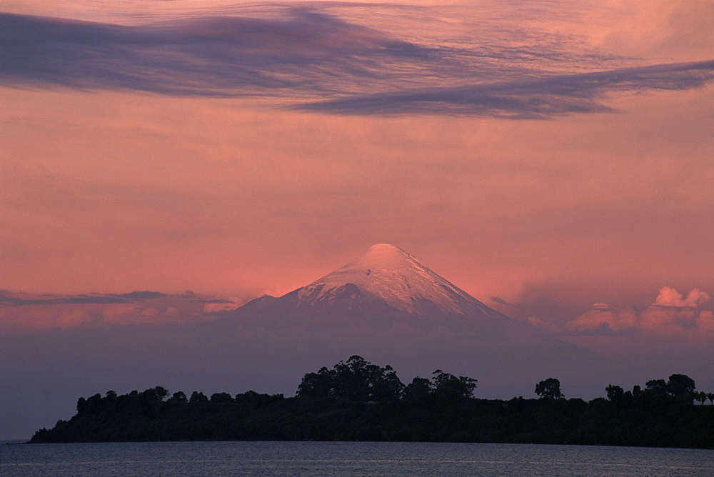 Volcano Osorno and Lake Lanquihue (Llanquihue), Chile, South America