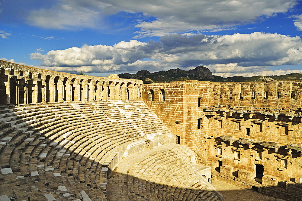 Roman Theatre and Taurus Mountains, Aspendos, Antalya Province, Anatolia, Turkey, Asia Minor, Eurasia - 756-2787