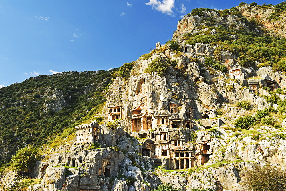 Myra rock tombs, Demre, Antalya Province, Anatolia, Turkey, Asia Minor, Eurasia - 756-2796