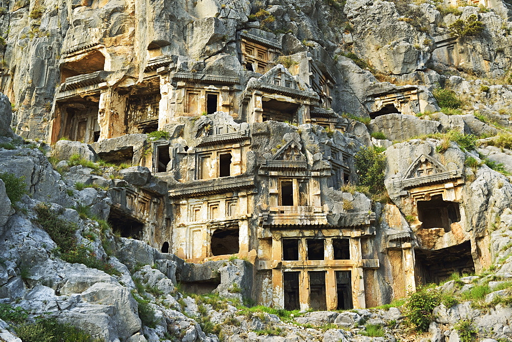 Myra rock tombs, Demre, Antalya Province, Anatolia, Turkey, Asia Minor, Eurasia - 756-2797