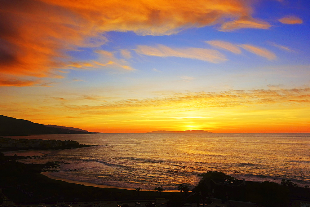 Sunset over Playa Jardin, Puerto de la Cruz, Tenerife, Canary Islands, Spain, Atlantic, Europe - 756-2821