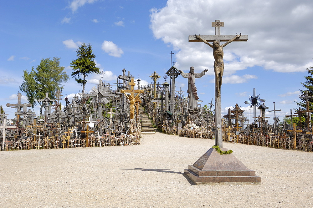 Cross laid by Pope John Paul II in 1993 at the Hill of Crosses, near Siauliai, Lithuania, Baltic States, Europe