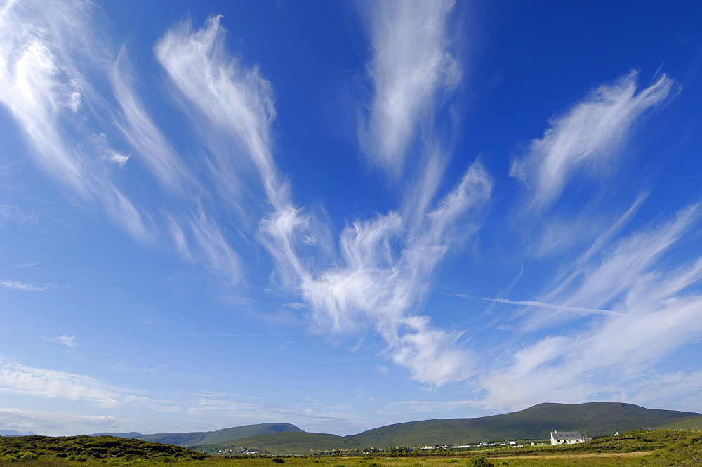 Big sky over Achill Island near Cashel, County Mayo, Connacht, Republic of Ireland (Eire), Europe
