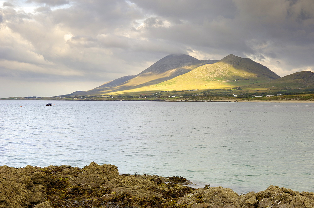 Croagh Patrick mountain and Clew Bay, from Old Head, County Mayo, Connacht, Republic of Ireland, Europe