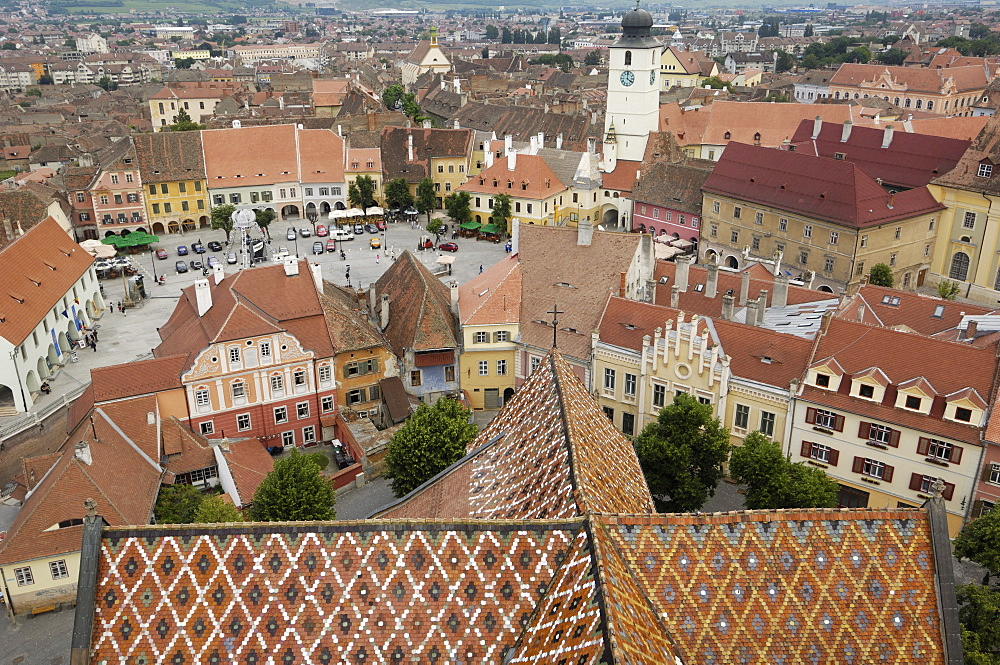 Sibiu from the Evangelical Cathedral, Sibiu, Transylvania, Romania, Europe