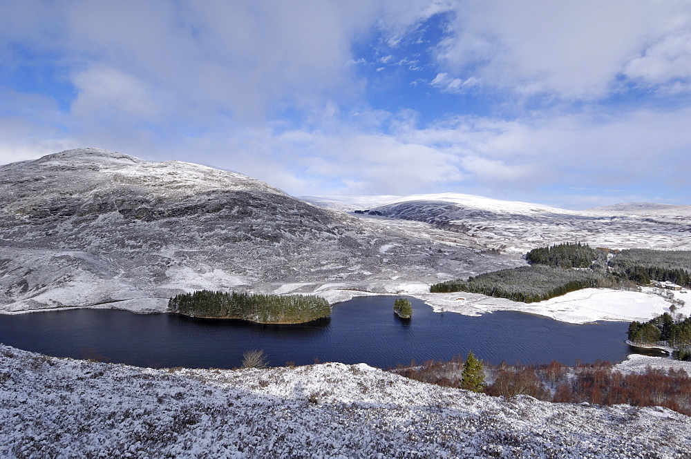 Loch Gynack and highlands in winter, from Creag Bheag, near Kingussie, Highlands, Scotland, United Kingdom, Europe