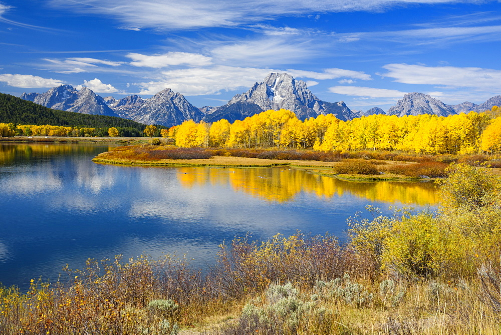 Mount Moran and the Teton Range from Oxbow Bend, Snake River, Grand Tetons National Park, Wyoming, United States of America, North America