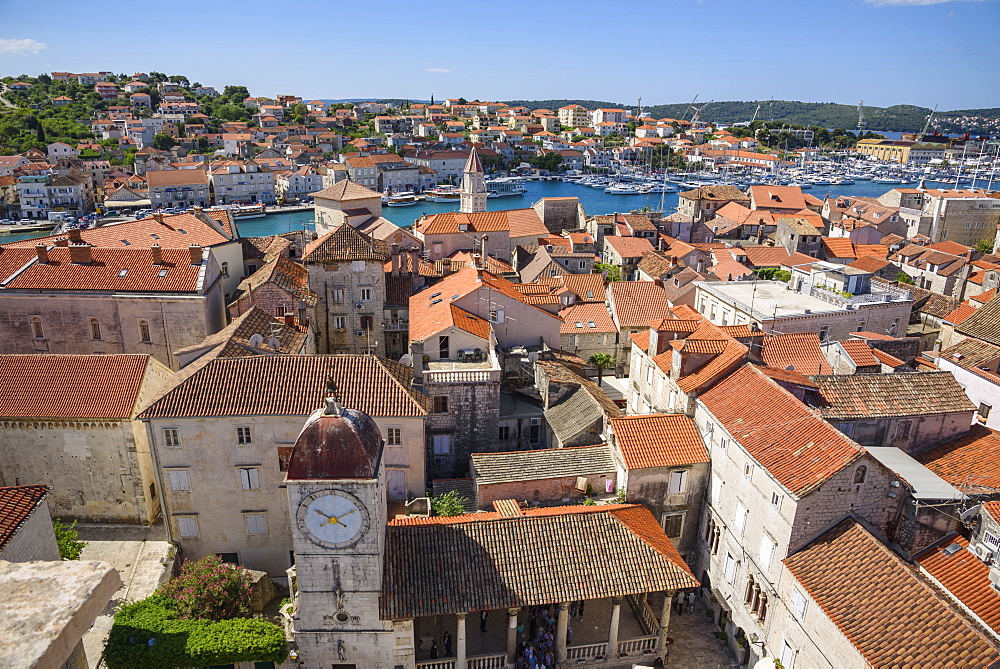 View from the bell tower, Cathedral of St. Lawrence, Trogir Old Town, UNESCO World Heritage Site, Croatia, Europe - 762-810