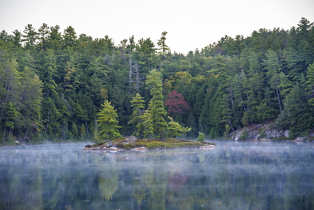 Mist rising from Bunnyrabbit Lake, dawn, La Cloche Silhouette Trail, Killarney Provincial Park, Ontario, Canada - 762-825