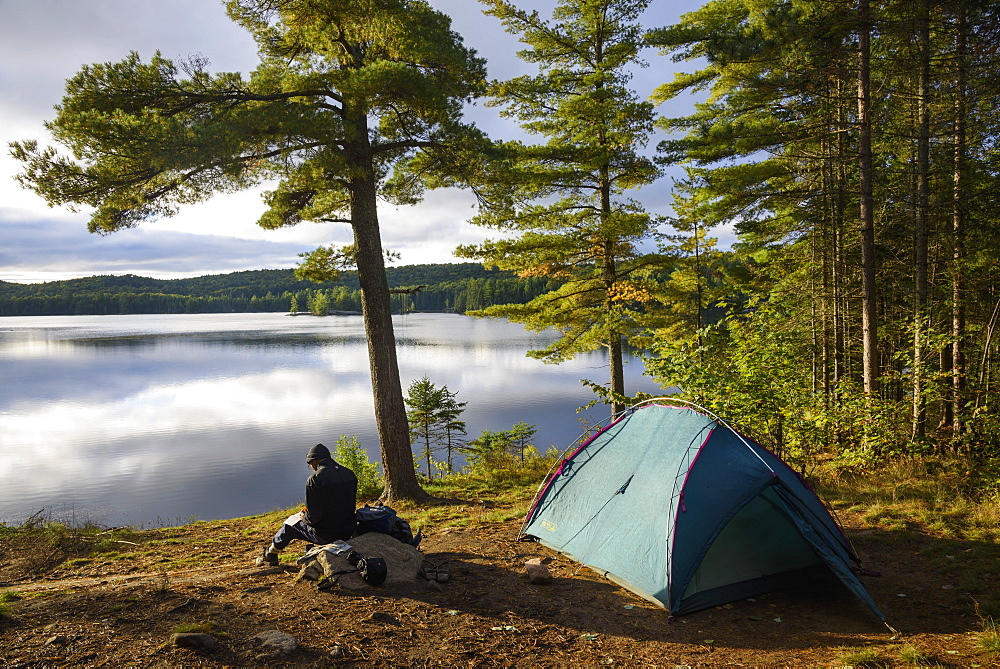 Camp at Provoking Lake West, Highland Backpacking Trail, Algonquin Provincial Park, Ontario, Canada - 762-828