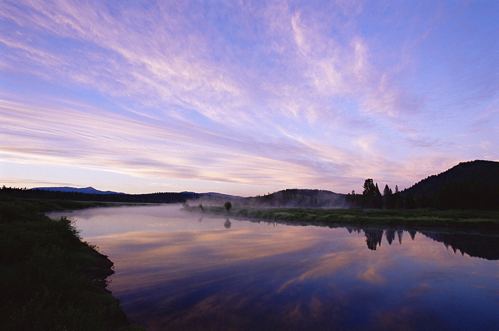Oxbow Bend at dawn, Grand Teton National Park, Wyoming, United States of America, North America