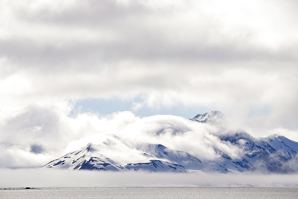 Cloud-covered mountains near Hornsund, Svalbard Islands, Arctic, Norway, Europe - 764-1230