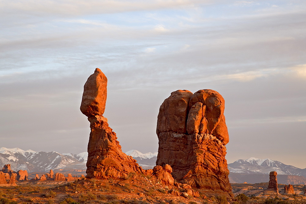 Balanced Rock at sunset, Arches National Park, Utah, United States of America, North America