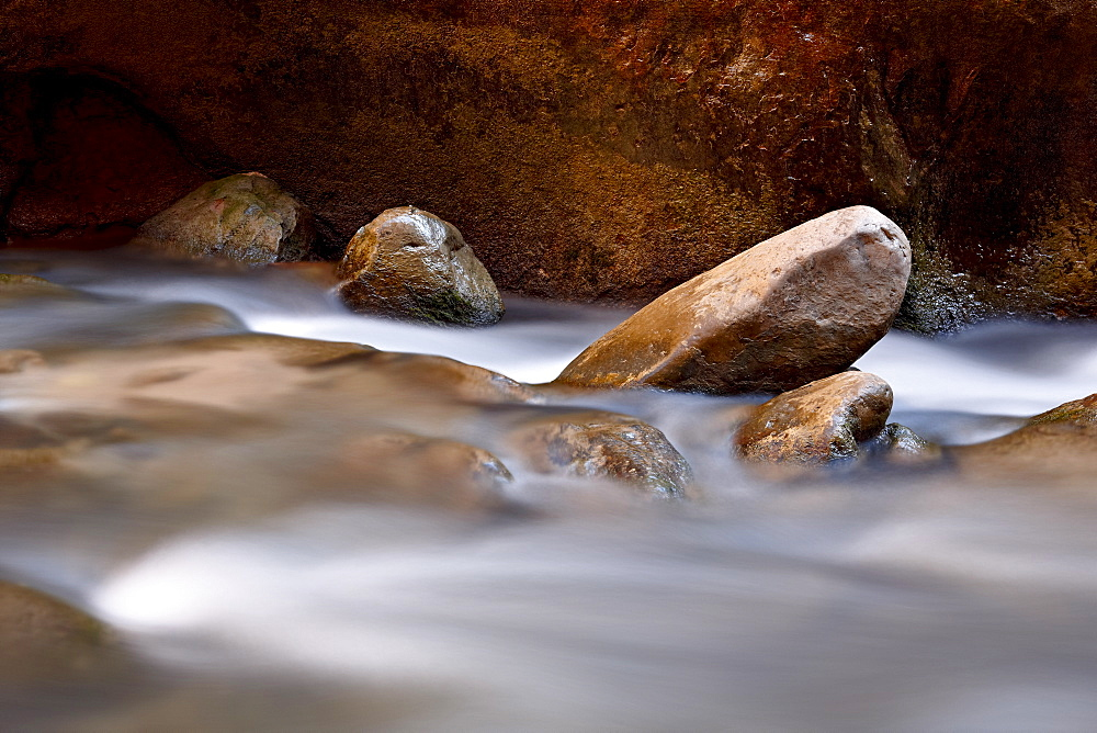 Round rocks in the Virgin River near The Narrows, Zion National Park, Utah, United States of America, North America