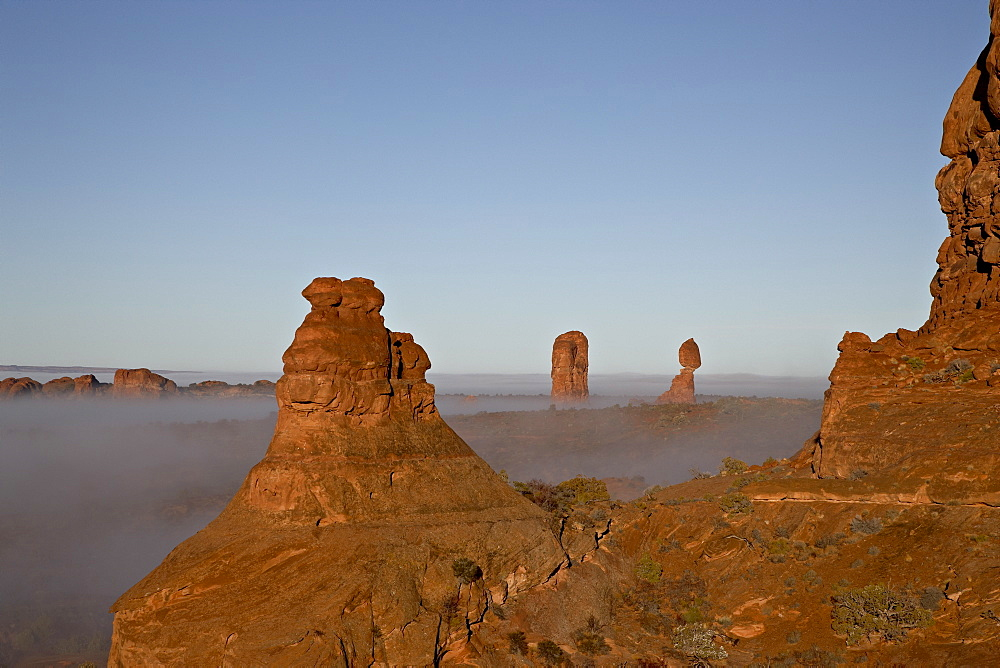Balanced Rock with fog, Arches National Park, Utah, United States of America, North America