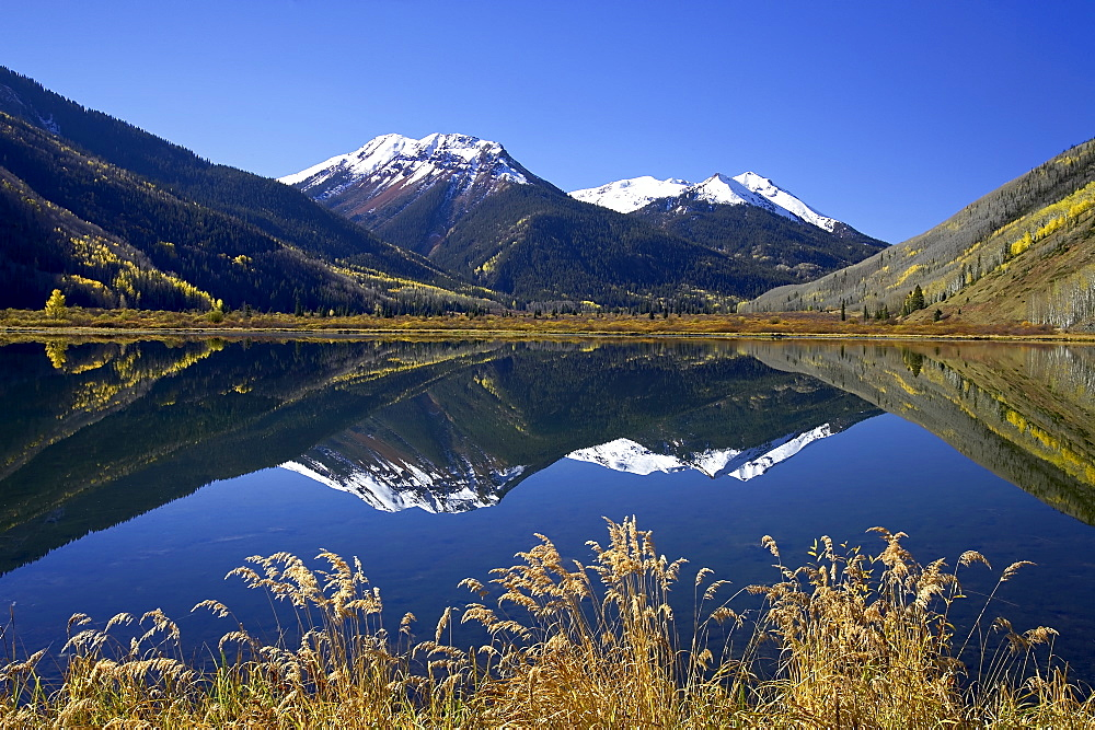 Snow-capped Red Mountain reflected in Crystal Lake with fall colors, near Ouray, Colorado, United States of America, North America - 764-263