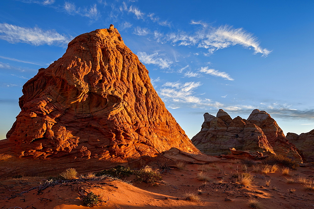 Butte at first light, Coyote Buttes Wilderness, Vermilion Cliffs National Monument, Arizona, United States of America, North America