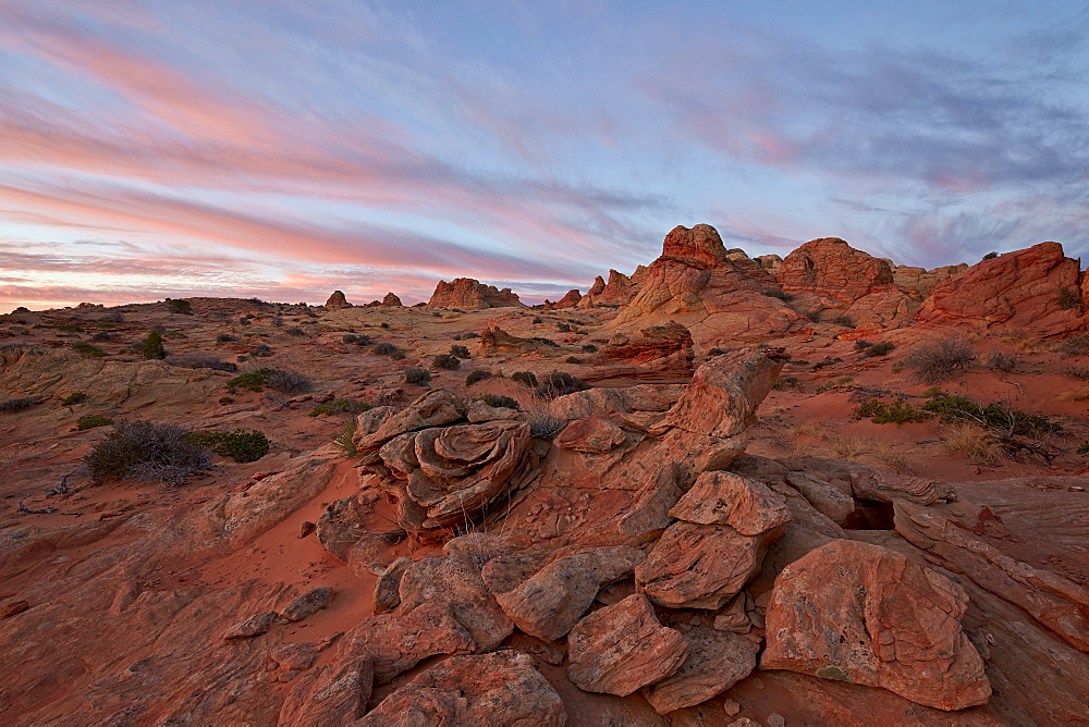 Pink clouds over sandstone formations, Coyote Buttes Wilderness, Vermilion Cliffs National Monument, Arizona, United States of America, North America