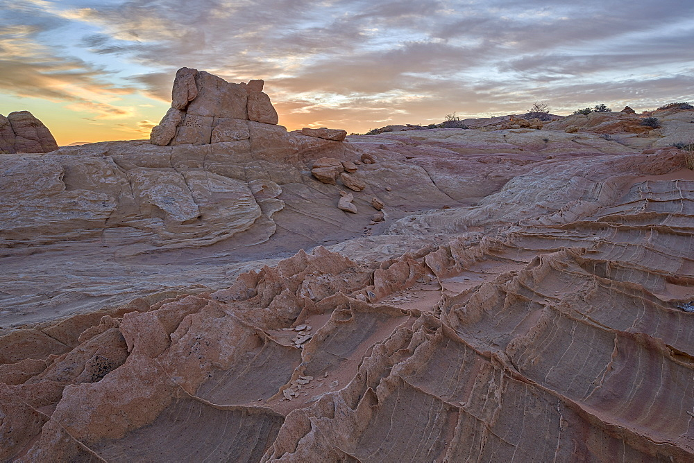 Sandstone fins at sunrise, Coyote Buttes Wilderness, Vermilion Cliffs National Monument, Arizona, United States of America, North America
