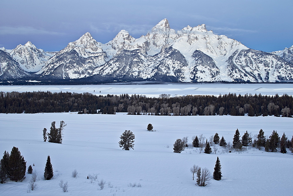 Teton Range at dawn in the winter, Grand Teton National Park, Wyoming, United States of America, North America