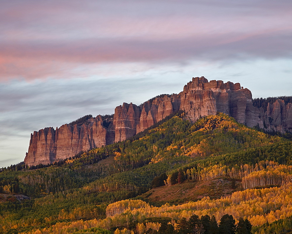 Owl Creek Pass palisade with fall color, Uncompahgre National Forest, Colorado, United States of America, North America