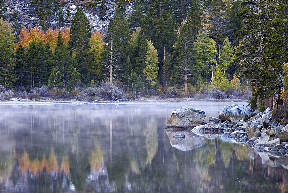 Rock Creek Lake in the fall with fog, Inyo National Forest, California, United States of America, North America