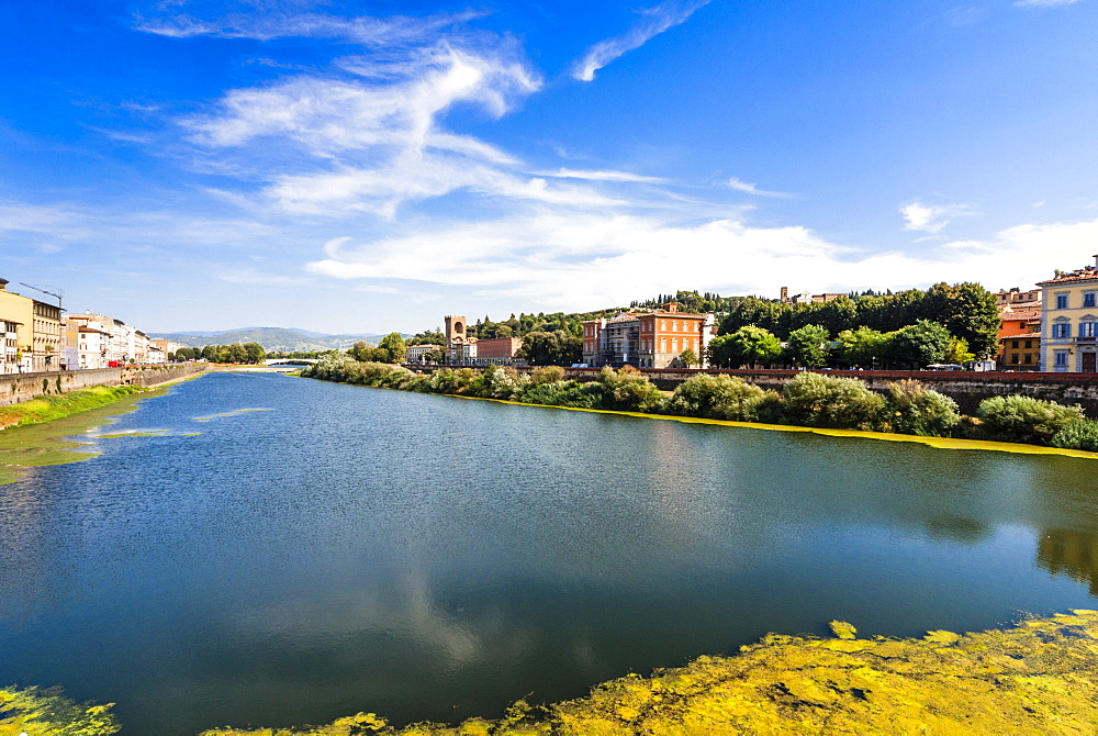 View of Arno River from Ponte alla Carraia, Florence, Tuscany, Italy, Europe