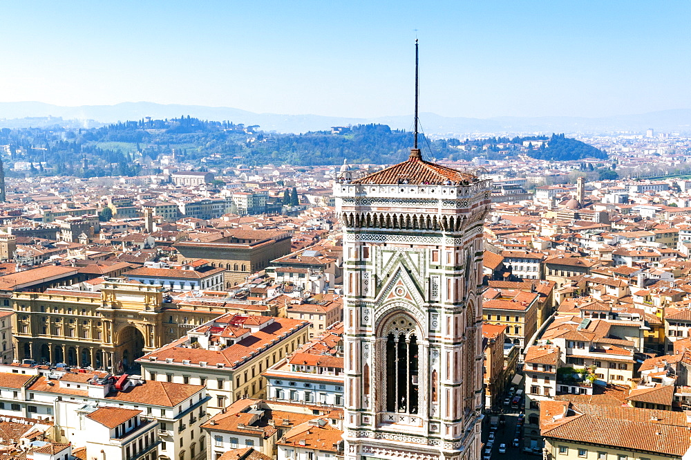 Campanile of Giotto and city view from the top of the Duomo, Florence (Firenze), UNESCO World Heritage Site, Tuscany, Italy, Europe