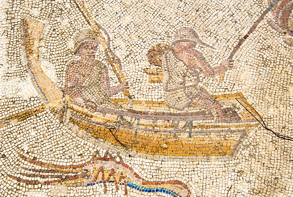 Mosaic of fishermen, Utica Punic and Roman archaeological site, Tunisia, North Africa, Africa - 765-1915