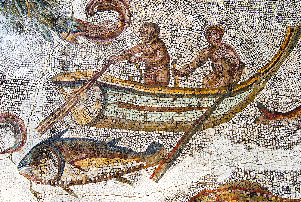 Mosaic of fishermen, Utica Punic and Roman archaeological site, Tunisia, North Africa, Africa - 765-1917