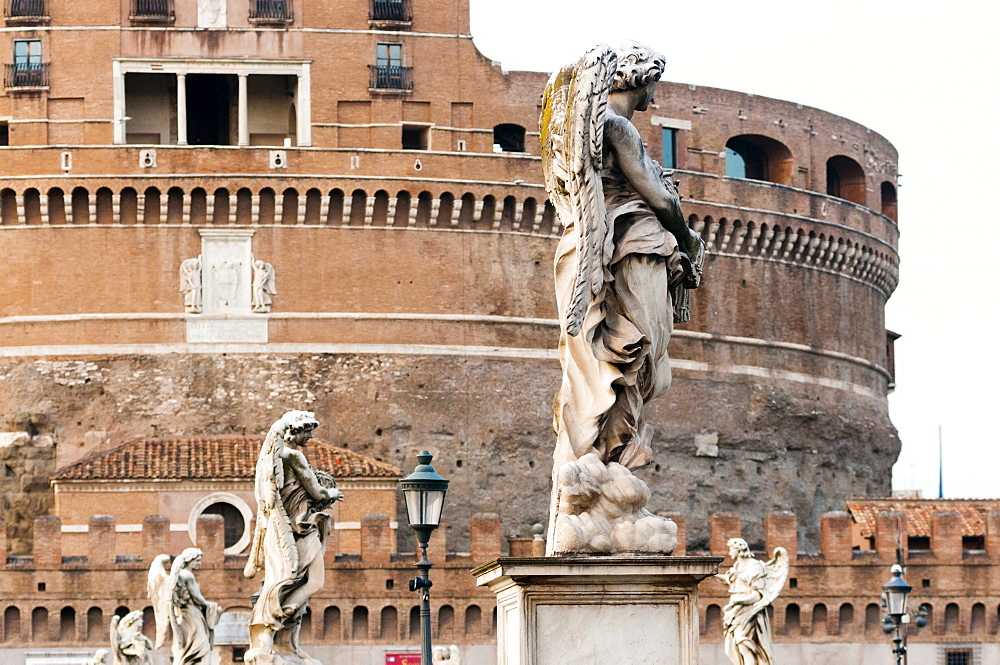 Castel Sant'Angelo, Statues of Ponte Sant'Angelo, Unesco World Heritage Site, Rome, Latium, Italy, Europe - 765-1934
