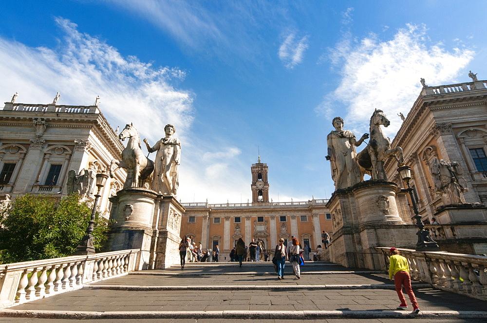 Stairway (Cordonata) to Capitoline Hill, Castor and Pollux (Dioskouri) statues, Campidoglio, Rome, Unesco, Latium, Italy, Europe