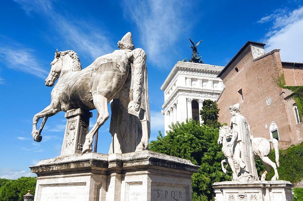 Castore and Polluce (Dioskouri) statues, Campidoglio, Capitoline hill, Rome, Unesco World Heritage Site, Latium, Italy, Europe