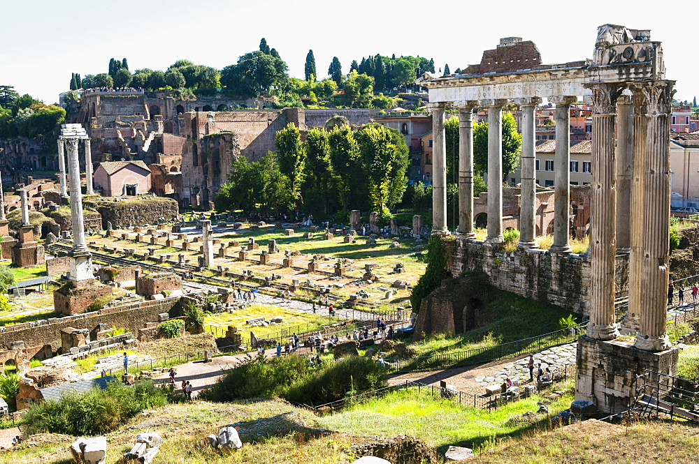 Roman Forum with the Temple of Saturn, Rome, UNESCO World Heritage Site, Lazio, Italy, Europe