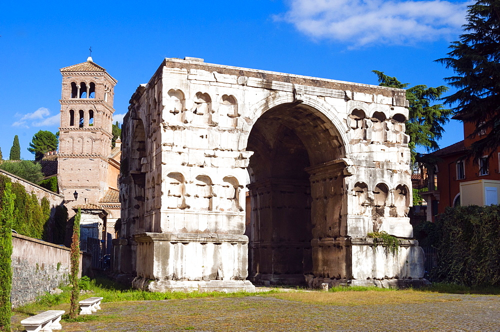 Quadrifrons triumphal arch of Janus, Belltower of San Giorgio in Velabro's church, Rome, UNESCO World Heritage Site, Lazio, Italy, Europe - 765-1999