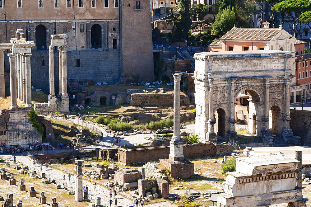 Column of Phocas, Arch of Septimius Severus, Roman Forum, seen from Palatine Hill, UNESCO World Heritage Site, Rome, Lazio, Italy, Europe