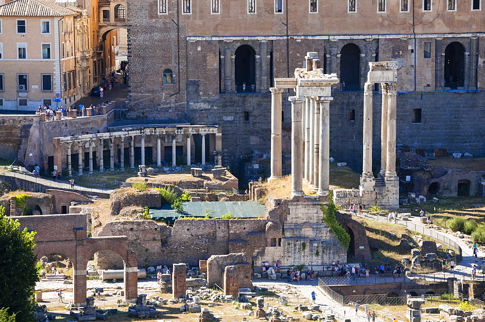 Roman Forum, seen from Palatine Hill, UNESCO World Heritage Site, Rome, Lazio, Italy, Europe