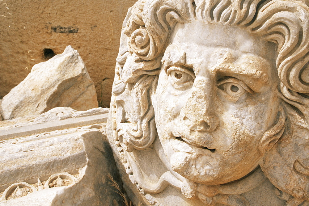 Medusa head, Forum, Leptis Magna, UNESCO World Heritage Site, Tripolitania, Libya, North Africa, Africa - 765-34